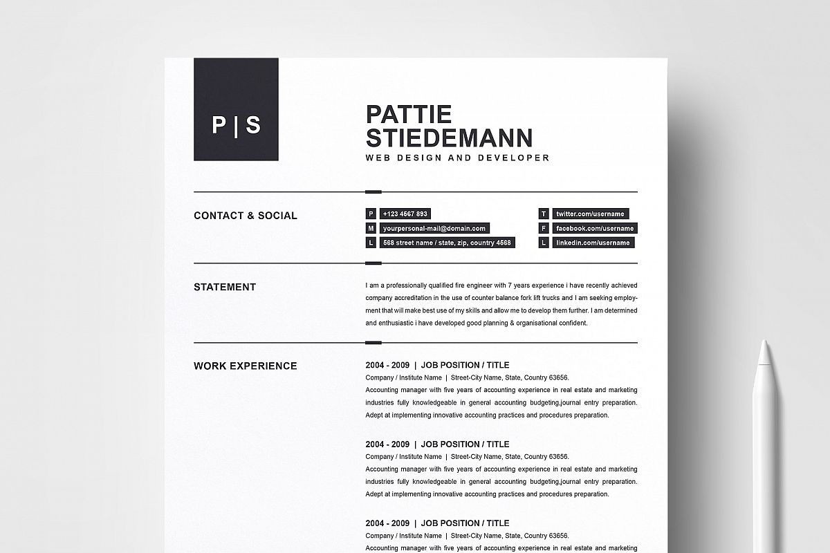 2 Pages Clean Resume Template   Simple & Basic Professional example image 1