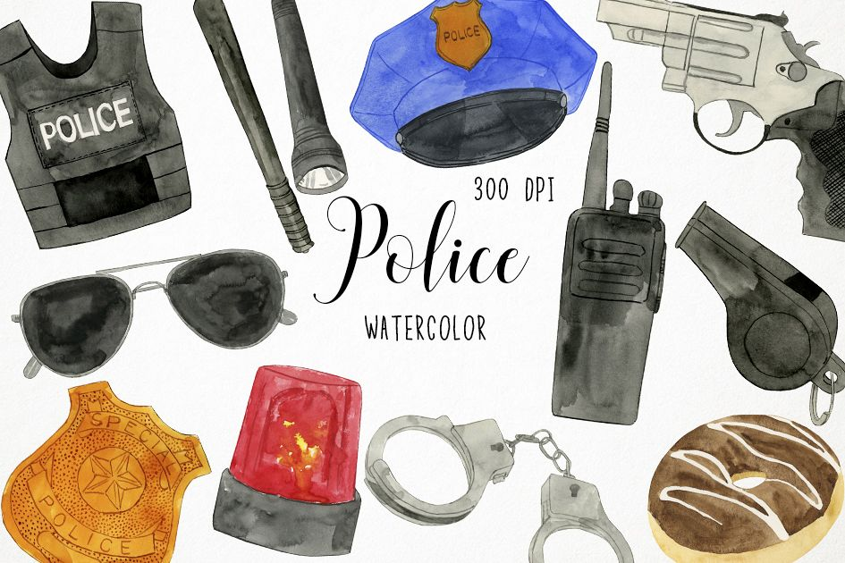 Watercolor Police Clipart, Police Graphics, Police Vector example image 1