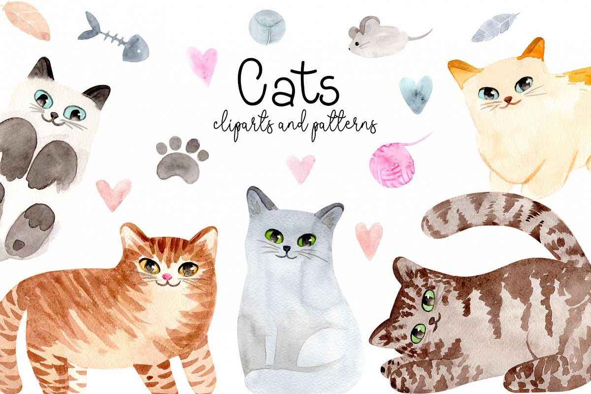 Watercolor Cute Cats. Patterns and Cliparts example image 1