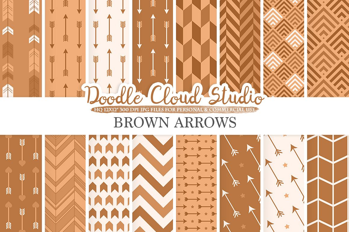 Brown Arrows digital paper, Brown Arrow patterns, tribal, archery, chevron triangles backgrounds Instant Download, Personal & Commercial Use example image 1