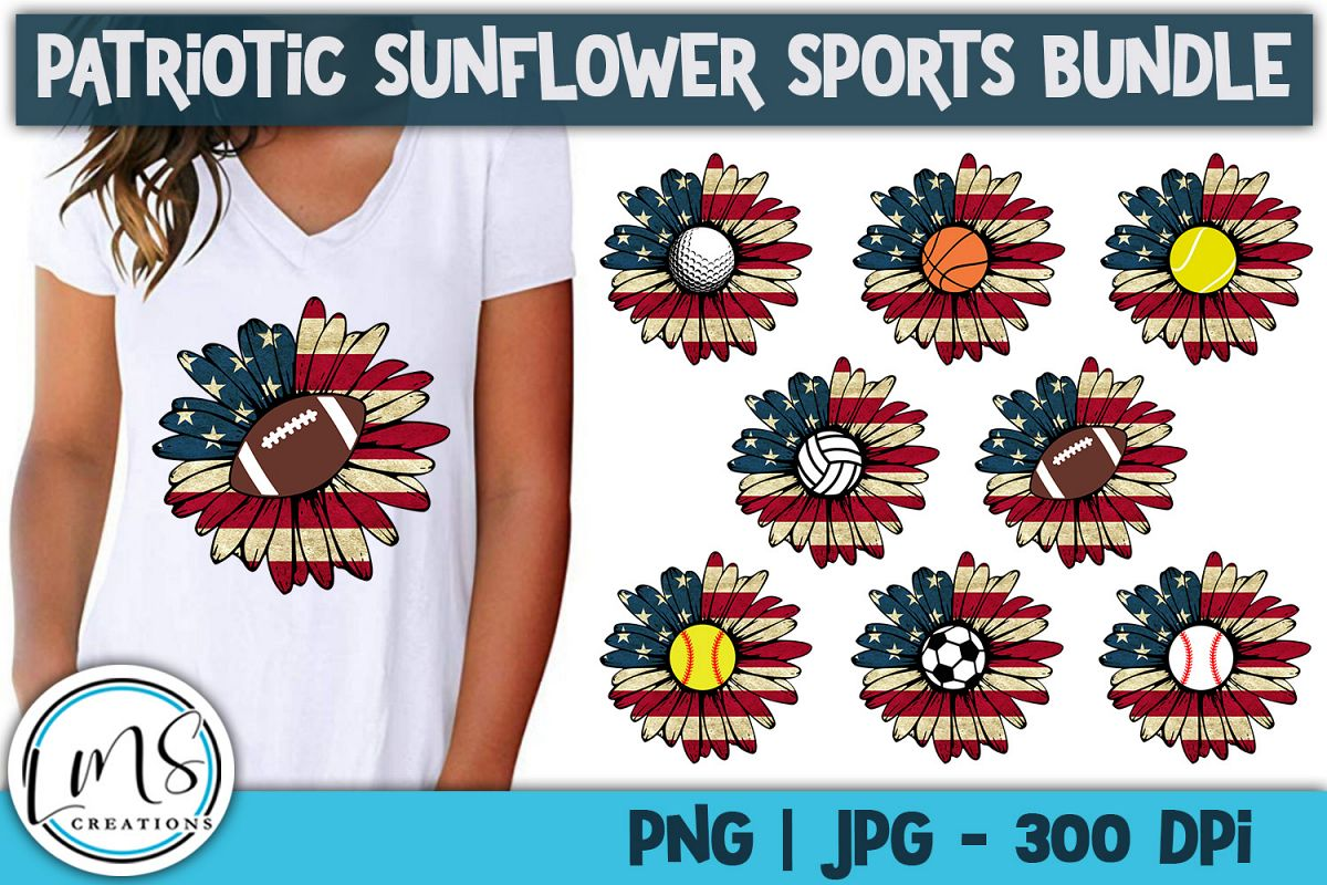 Patriotic Sunflower Sports Bundle PNG, JPG, Sublimation example image 1
