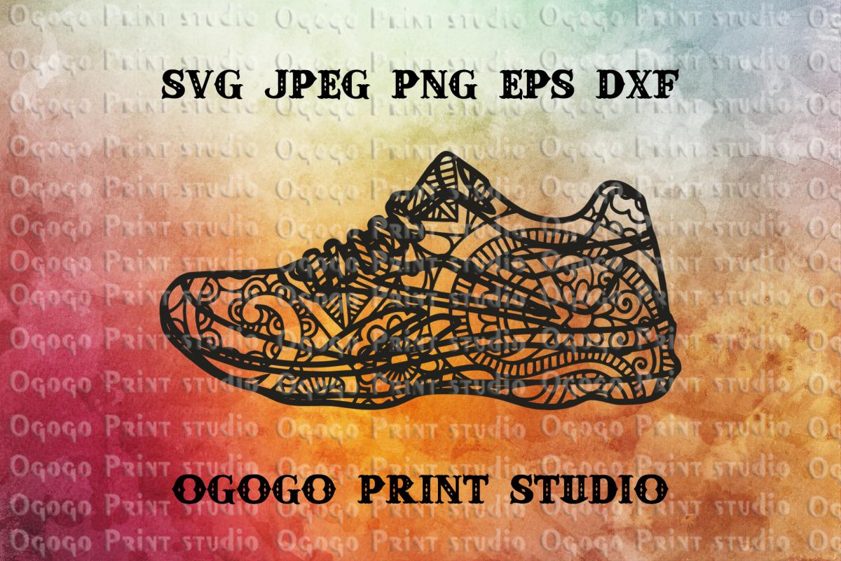 Sports shoes svg, Mandala svg, Running shoe svg, Run SVG example image 1
