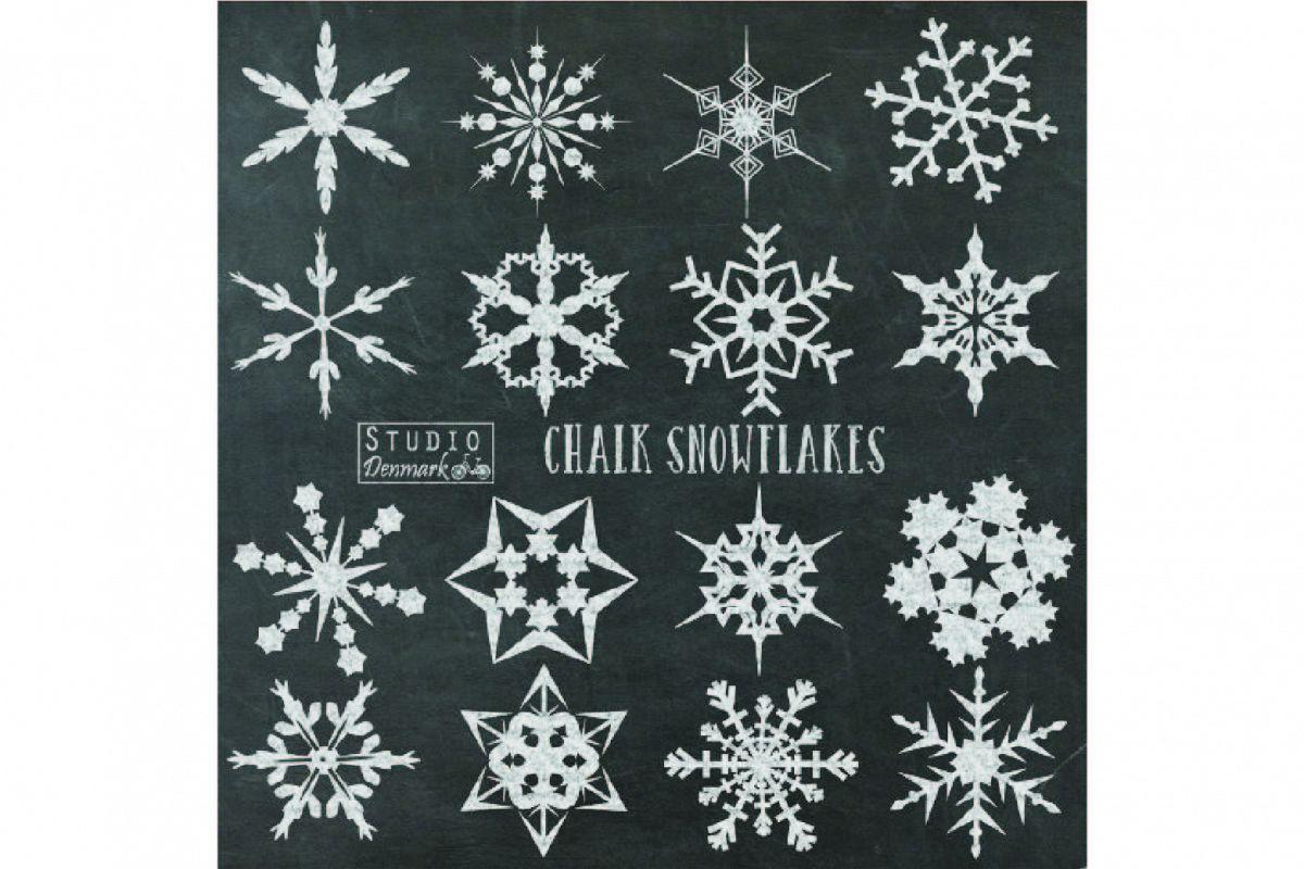 Christmas Snowflakes.Chalk Snowflakes Clipart Chalkboard Christmas Snowflake