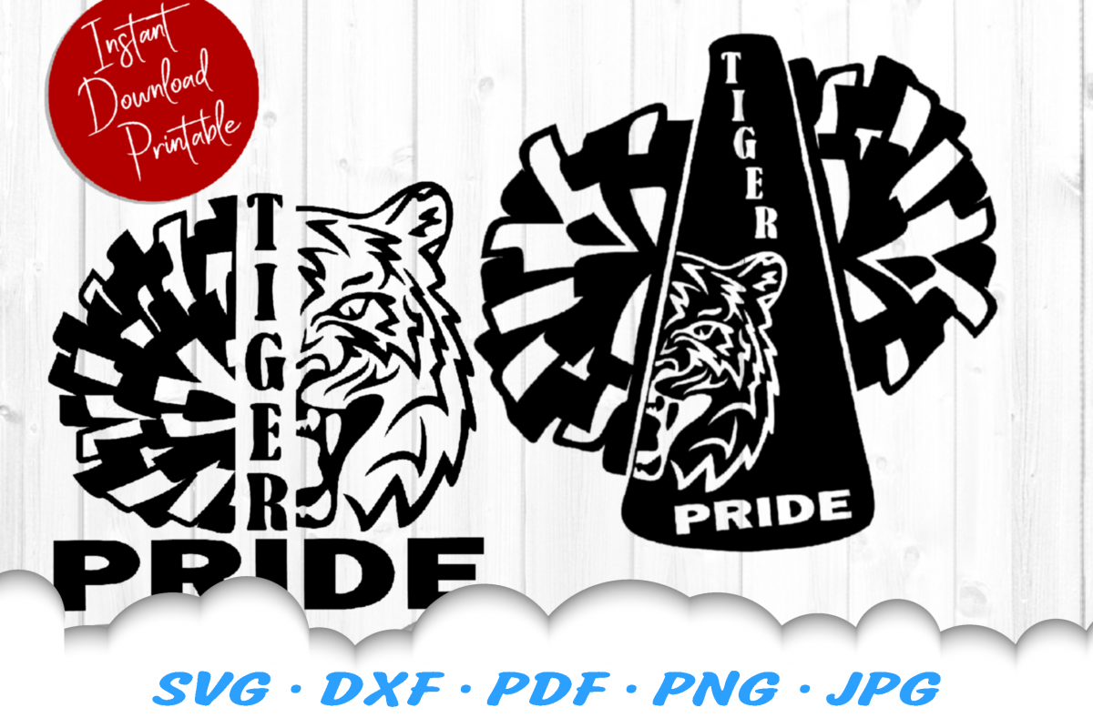 Tiger Pride Mascot Cheer Pom SVG DXF Cut Files Bundle example image 1