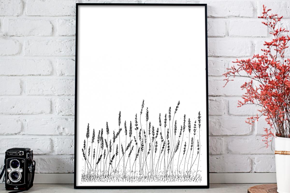 Lavender Flowers Illustration, A1, SVG example image 1