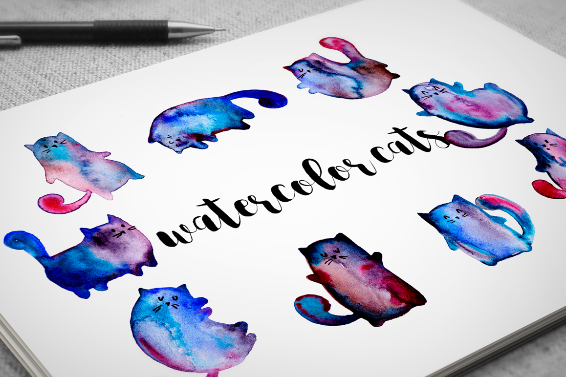 Watercolor cats example image 1