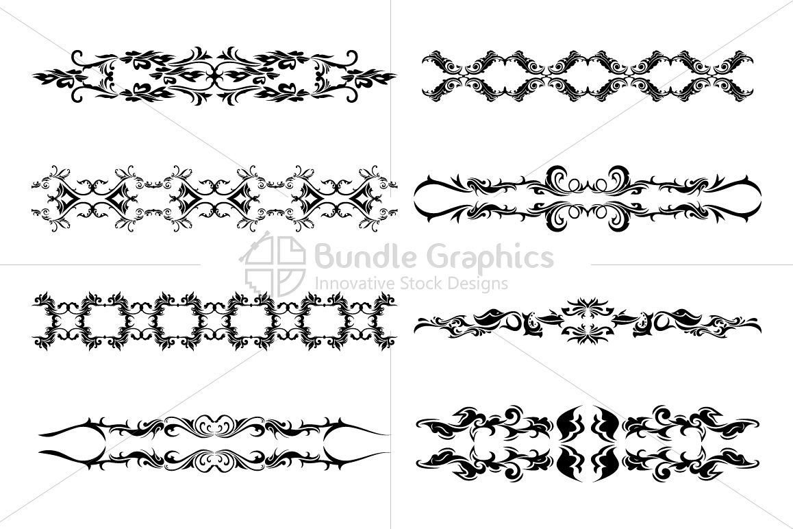 Floral Ornamental Decorative Borders Set example image 1