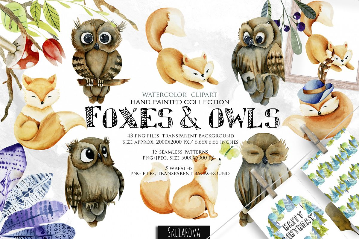Foxes & Owls. Watercolor clipart. example image 1