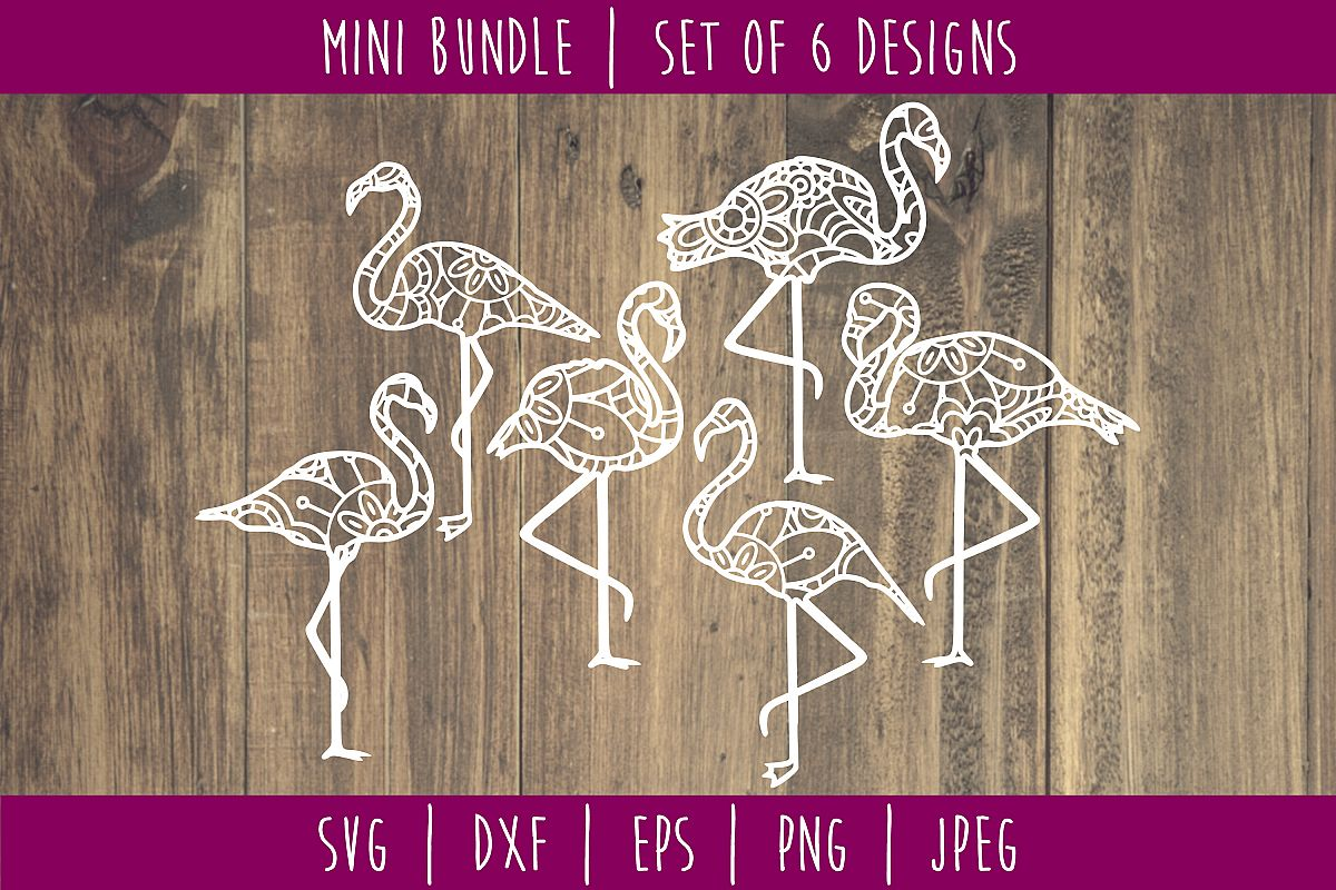 Flamingo Mandala Zentangle Bundle Set of 6 - SVG example image 1