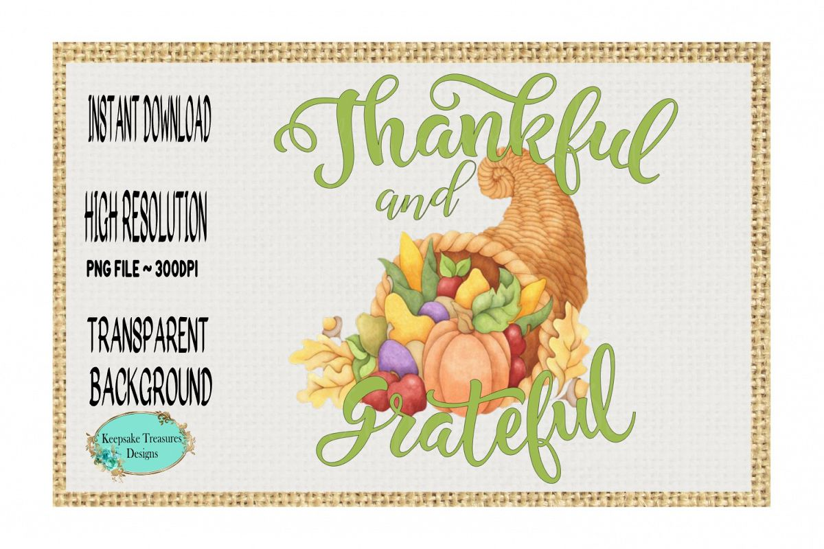 Thankful and Grateful, Sublimation Design example image 1
