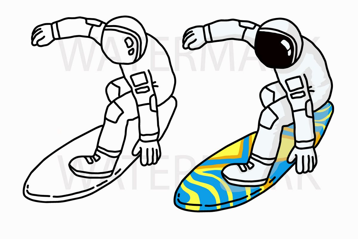 Astronaut Surfboard - Color and Outline version - SVG/JPG/PNG Hand Drawing example image 1