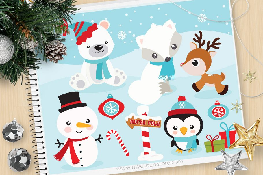 Christmas Animals Clipart, Winter - Vector Clip Art & SVG example image 1