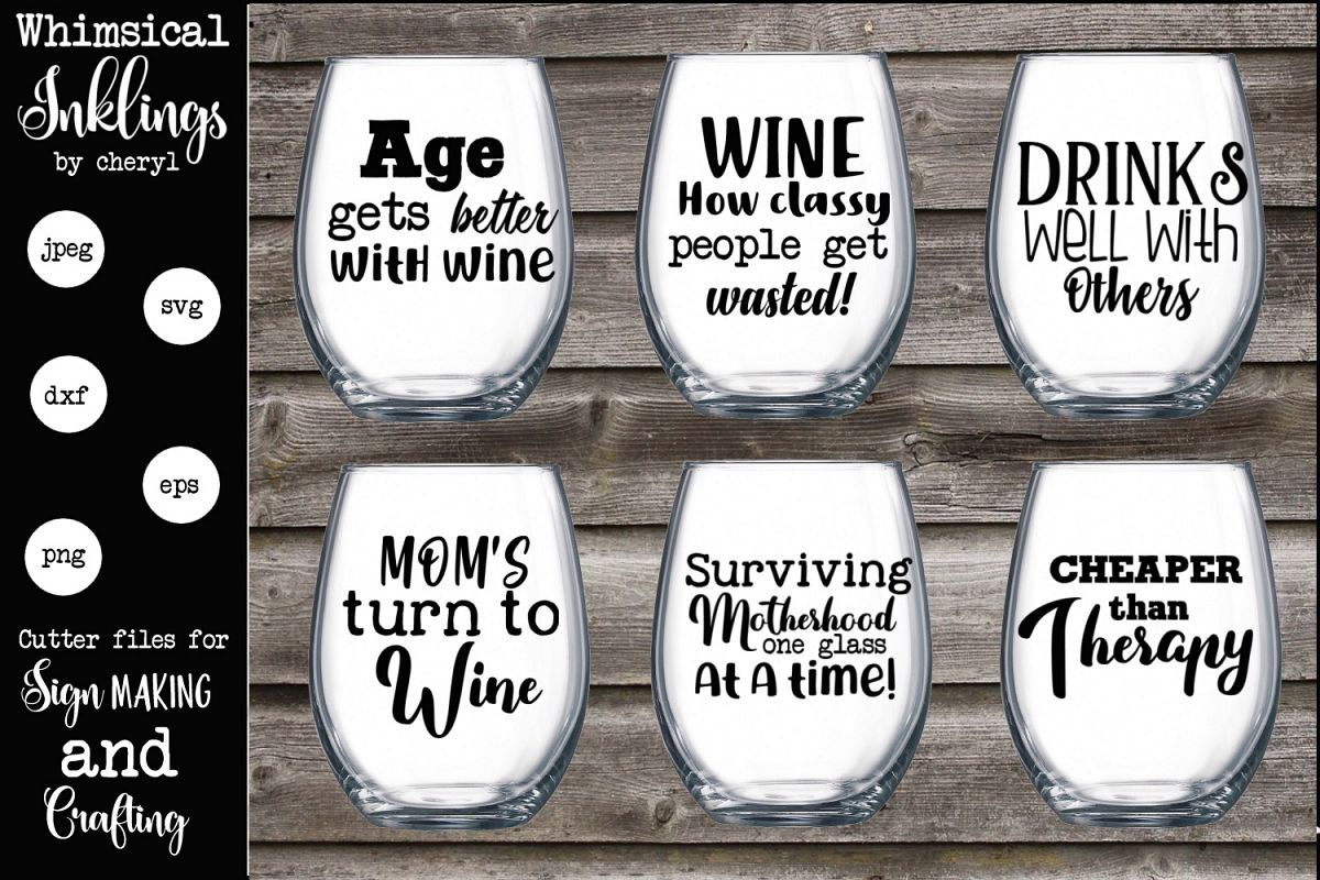 Age Gets Better With Wine SVG Set example image 1