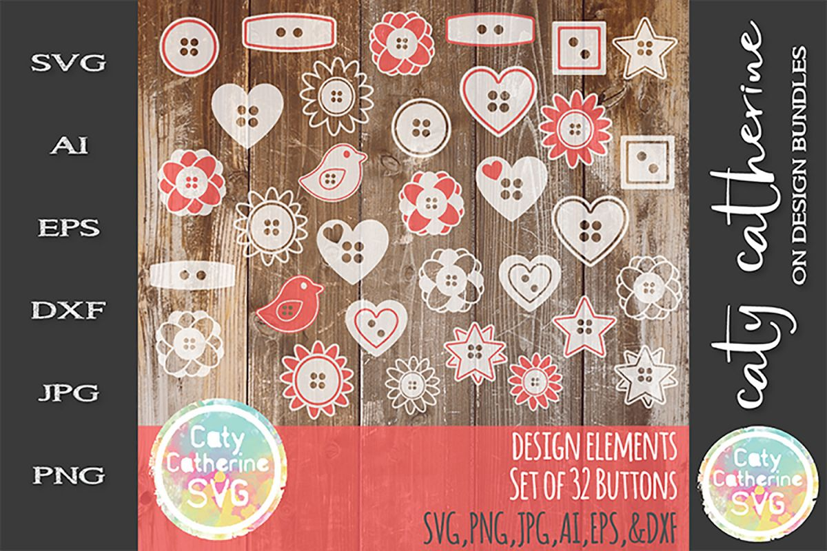 Design Elements Set of 32 Buttons SVG Cut File example image 1