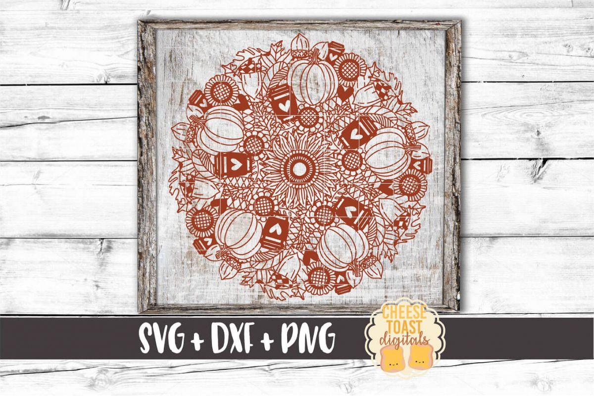 Pumpkin Spice Mandala - Fall Mandala SVG PNG DXF Cut File example image 1