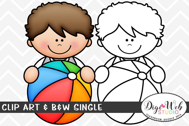 Clip Art & B&W Single - Summer Boy w/ A Beach Ball Topper example image 1