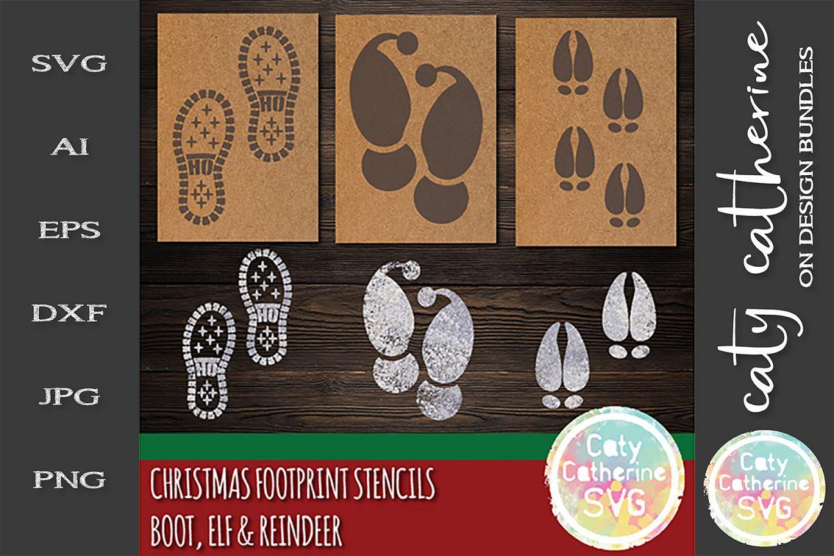 Christmas Footprint Flour Stencils Santa Boot HO HO HO SVG example image 1