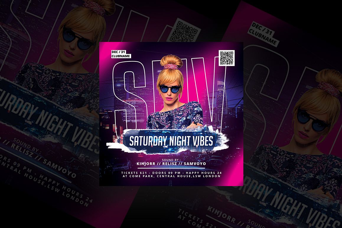 Saturday Night Vibes Party Flyer example image 1