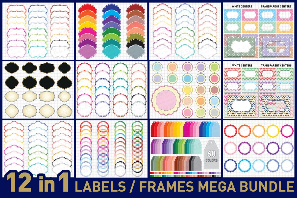 Labels Bundle Graphics and Illustrations / Frames Bundle example image 1