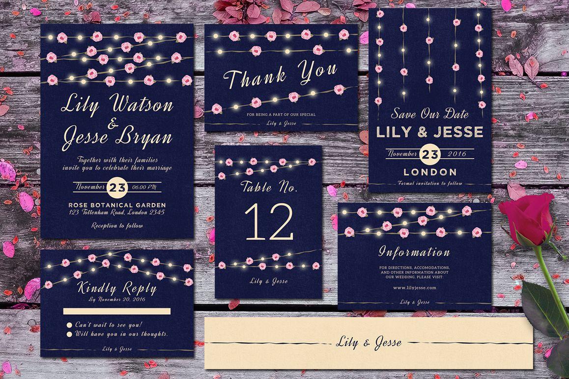 String Lights Wedding Invitation Set example image 1