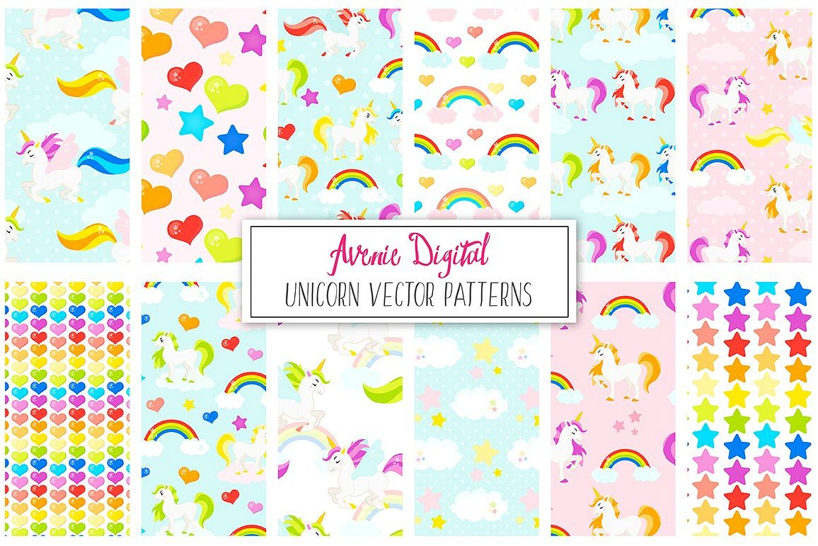 Rainbow Unicorns Digital Paper and Vector Patterns example image 1
