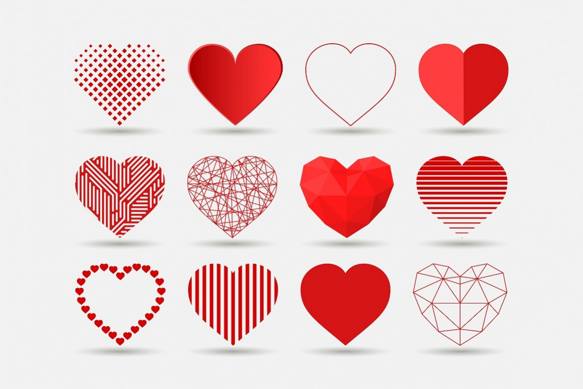 Heart icons set in different styles example image 1