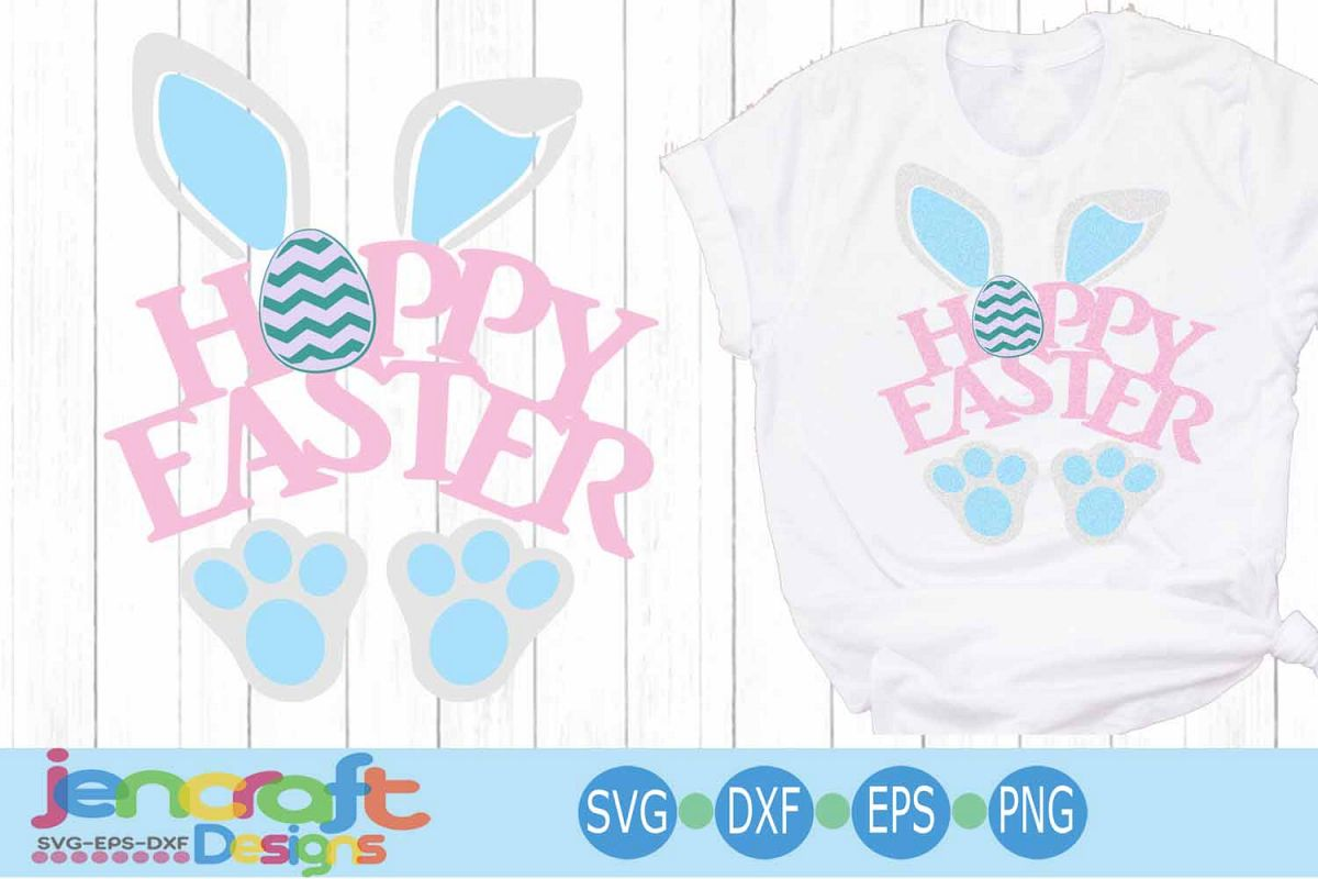 Easter SVG, Hoppy Easter SVG - Bunny ears Happy Easter svg example image 1