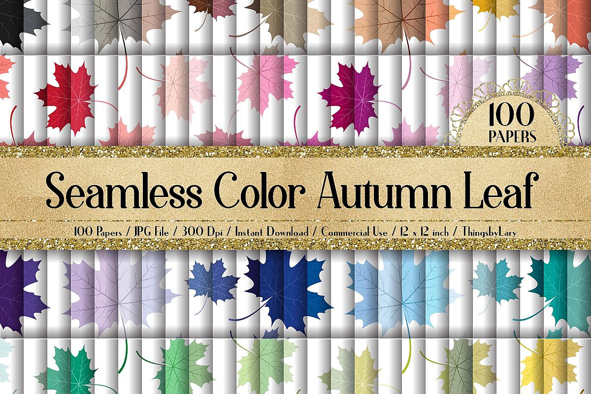 100 Seamless Color Autumn Leaves Pattern Digital Papers example image 1