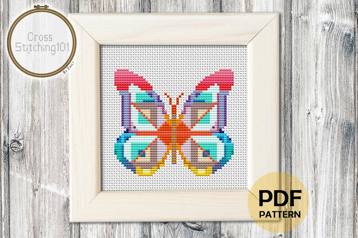 Abstract Butterfly Cross Stitch Pattern - Instant Download example image 1