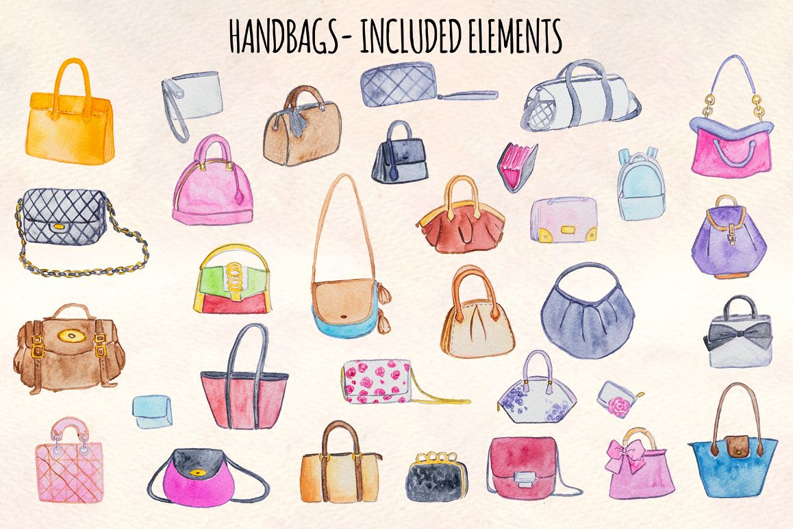 32 Womens Handbags Purses Watercolor Paintings example image 1