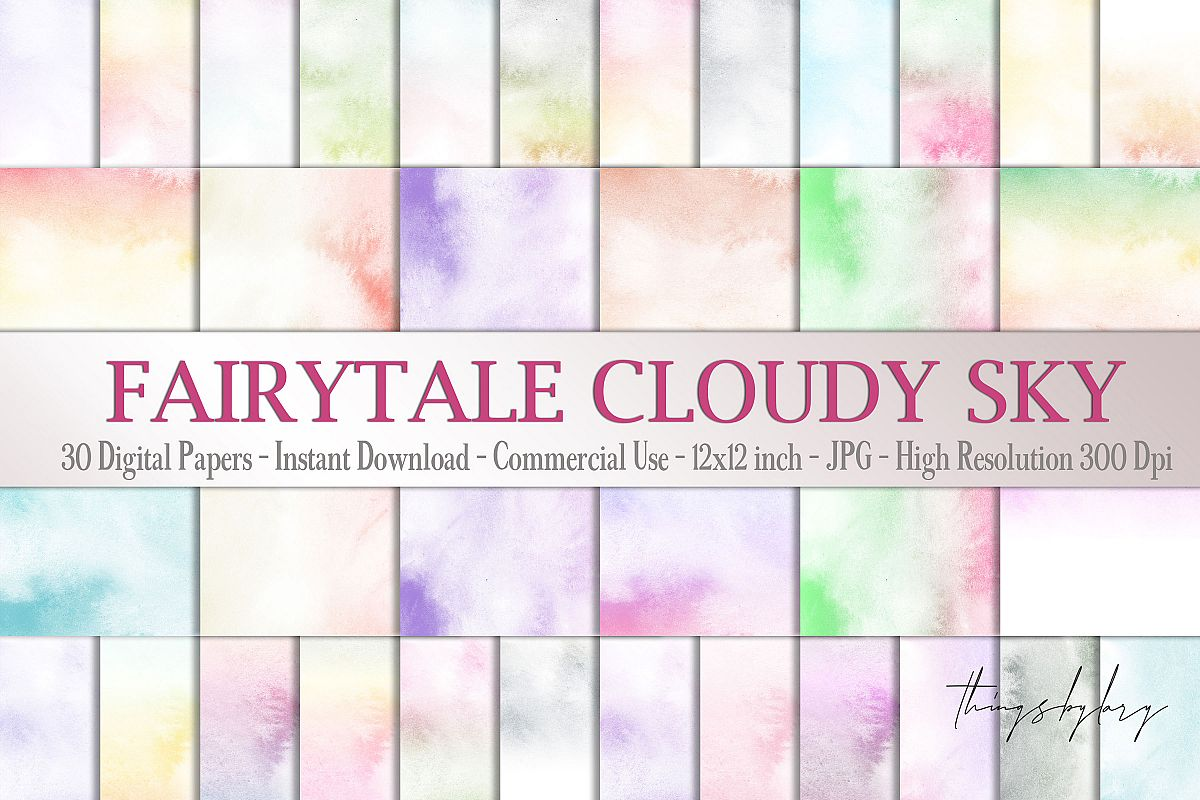 30 Watercolor Fairy Tale Cloudy Sky Baby Shower Paper Images example image 1