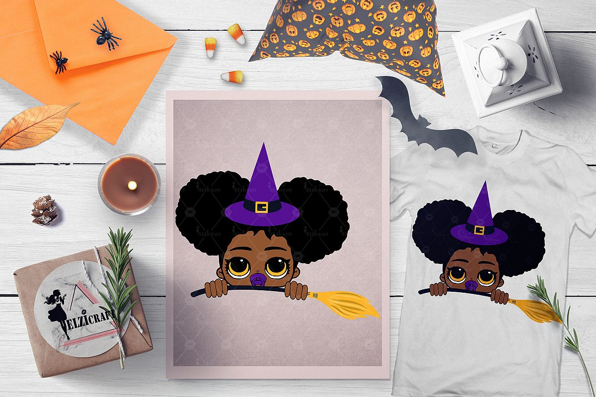 Halloween Peeking Witch Afro Baby Girl Broom SVG Cut File example image 1