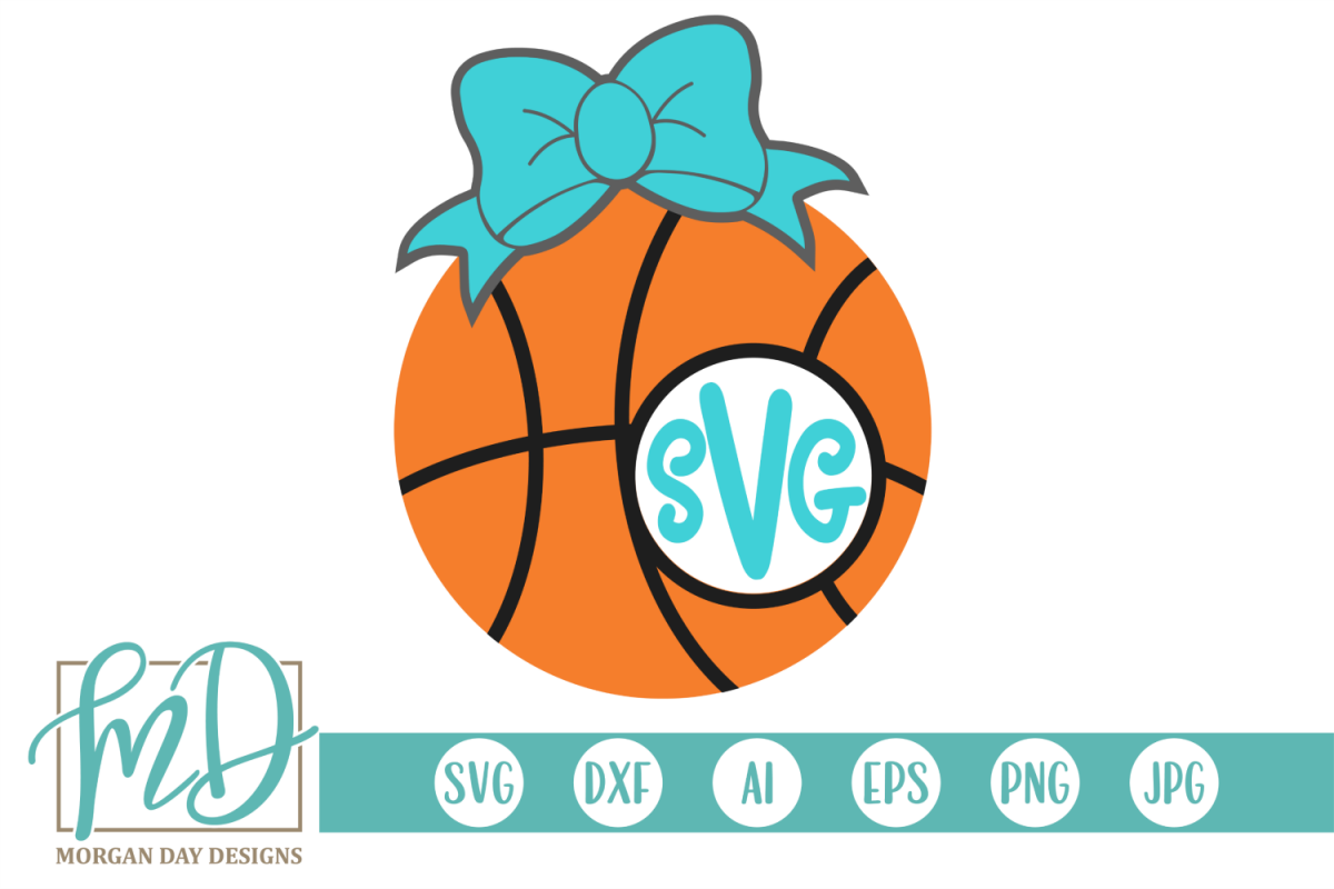 Basketball Monogram Frame SVG, DXF, AI, EPS, PNG, JPEG example image 1