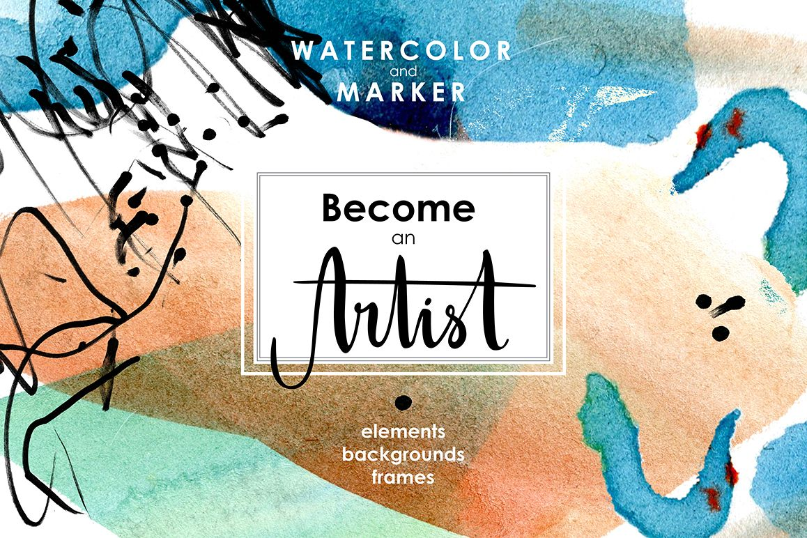 Be an Artist. Watercolor decor kit. example image 1