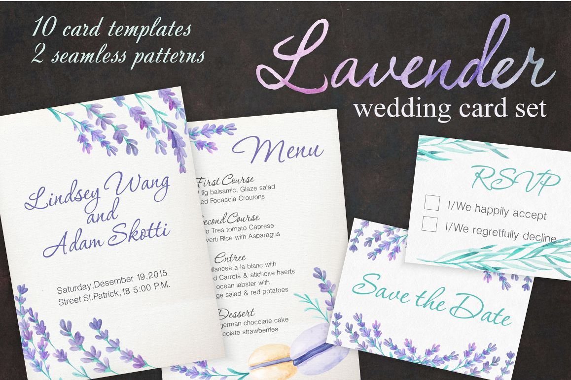 Lavender Wedding Card Set example image 1