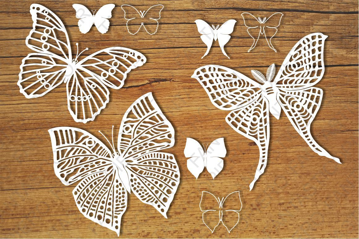 Butterflies set 2 SVG files for Silhouette and Cricut. example image 1