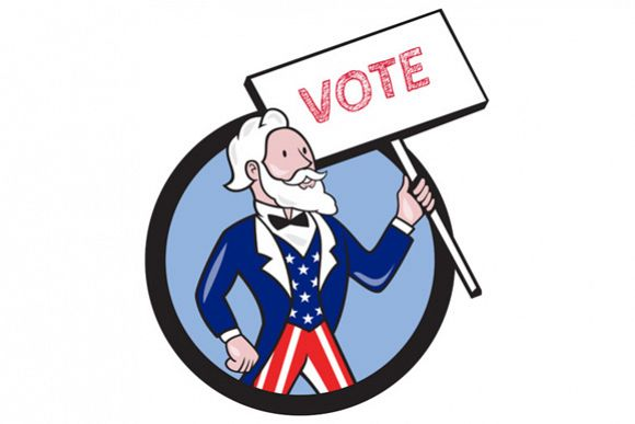 Uncle Sam Holding Placard Vote Circle Cartoon example image 1