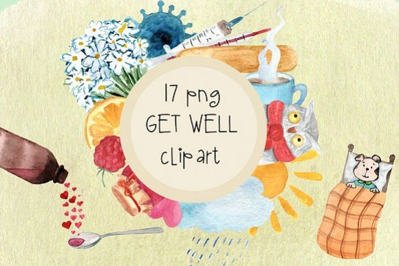 17 png Get Well Watercolor Clip Art example image 1