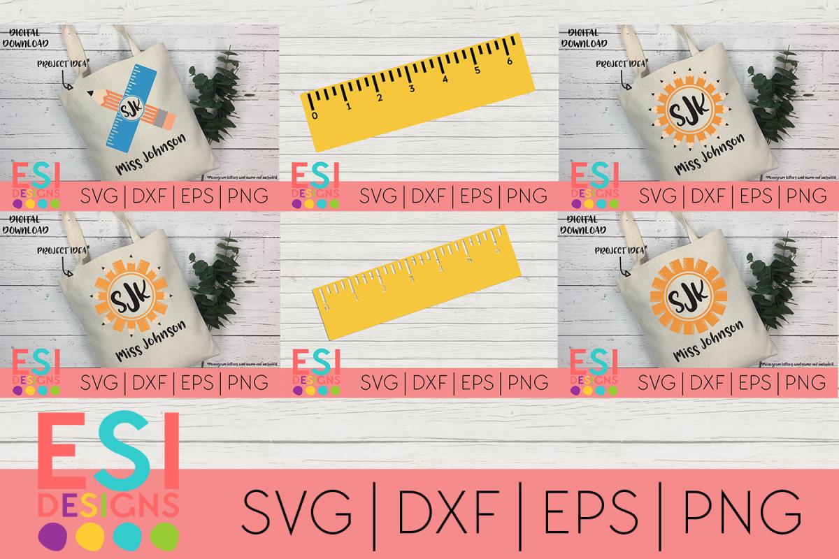 Teacher   School SVG  Pencil and Ruler Monogram Design Set example image 1
