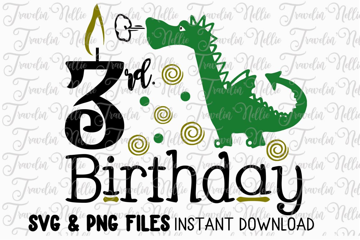 3rd Birthday Dragon SVG Cut File Cricut Silhouette Third example image 1