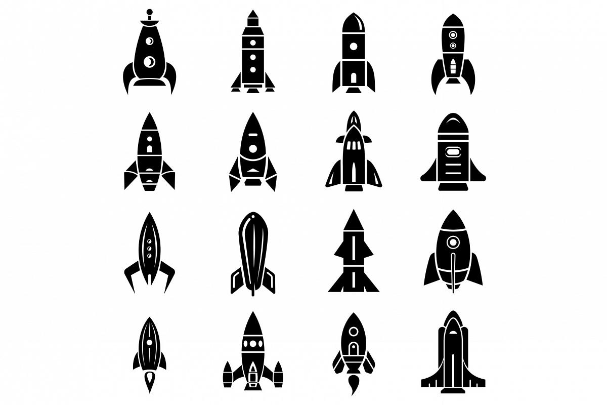 Rocket icons set, simple style example image 1