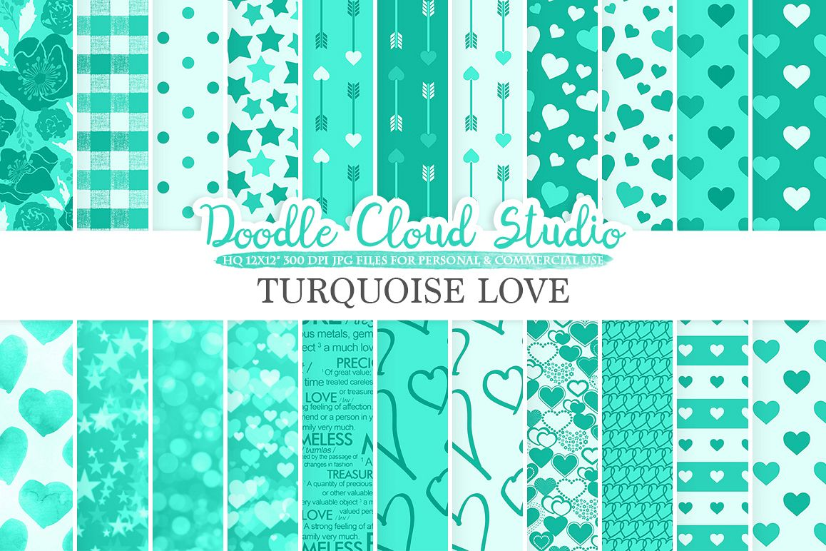 Turquoise Romantic digital paper, Valentine's day Aqua patterns, Love Roses Romance Heart Bokeh background Instant Download Commercial Use example image 1