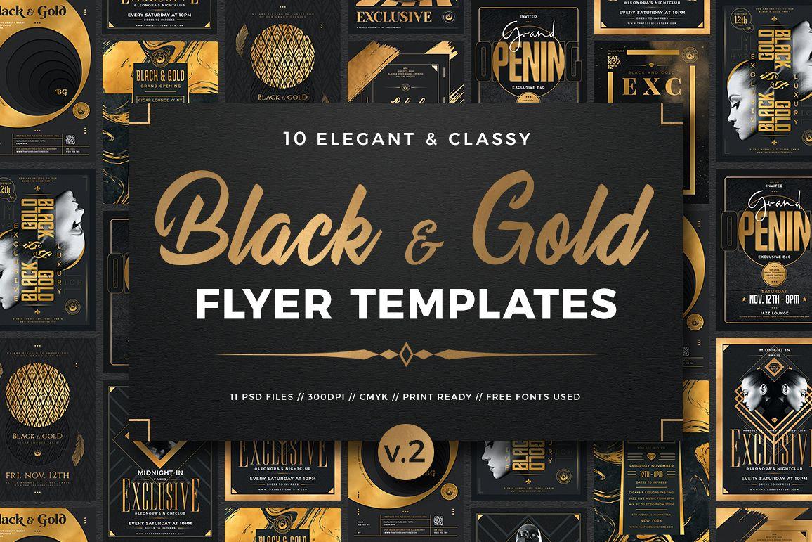 10 Black and Gold Flyers Bundle V2 example image 1