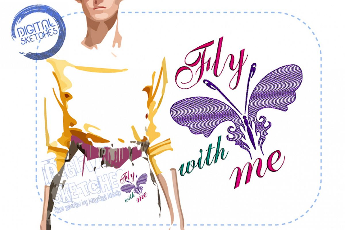 Butterfly Saying Fly With Me Machine Embroidery Design example image 1