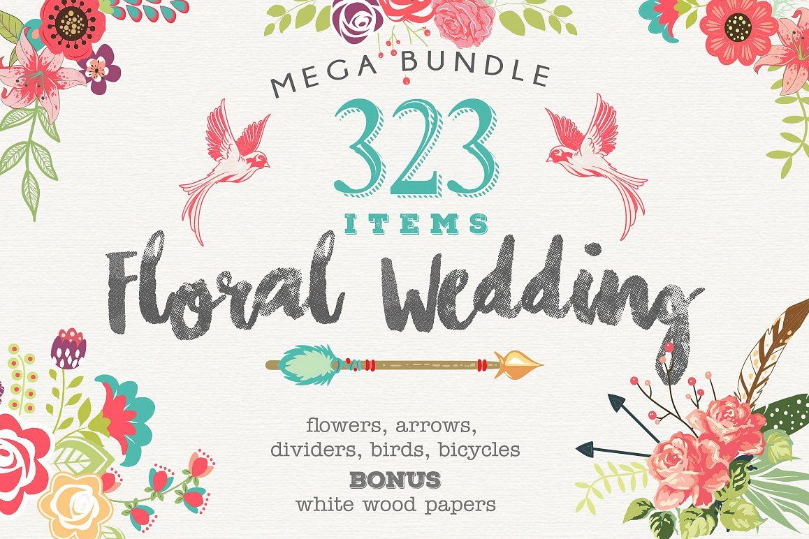 Wedding Floral Huge 323 Collection EPS and PNG example image 1