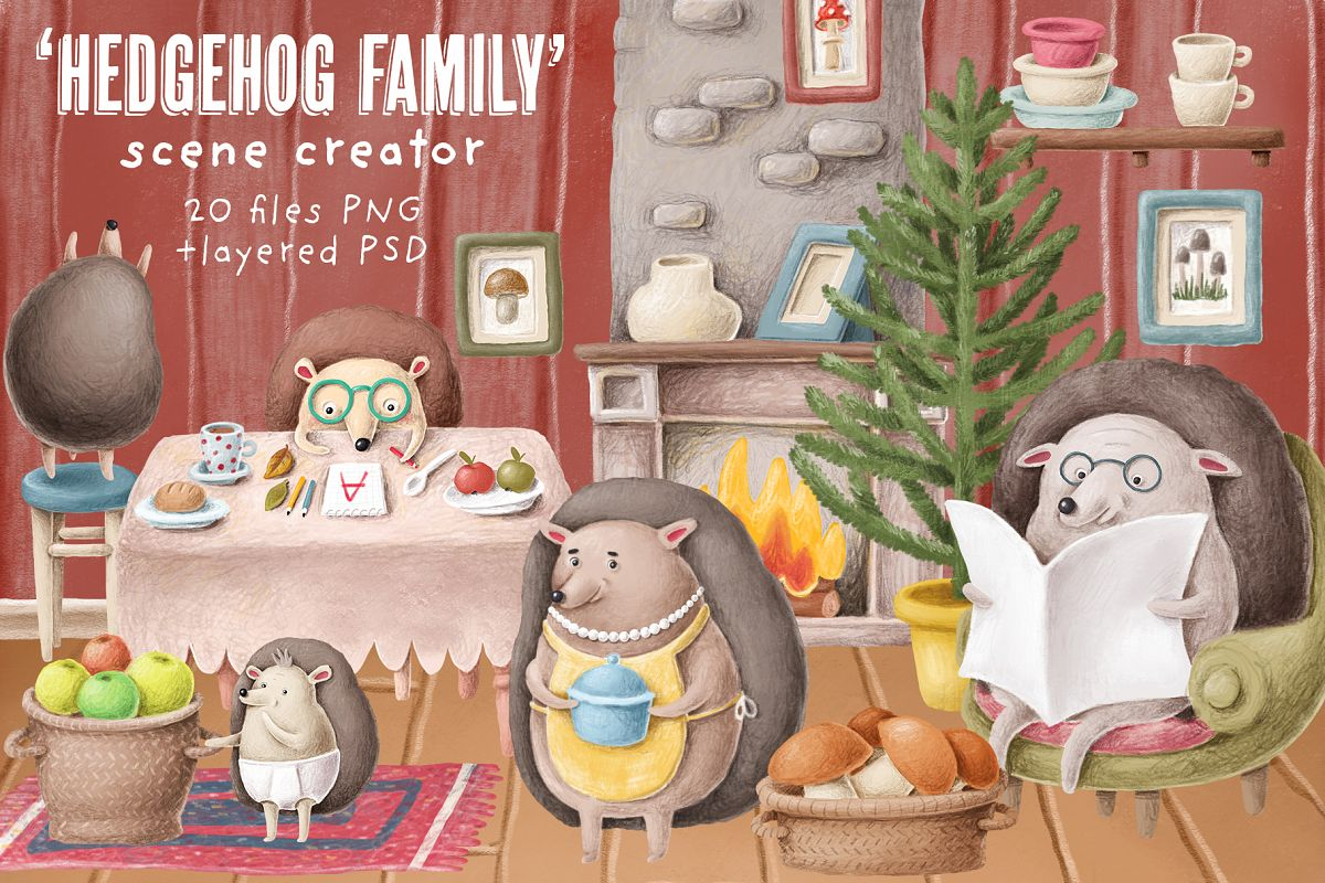 Hedgehog family scene creation kit example image 1