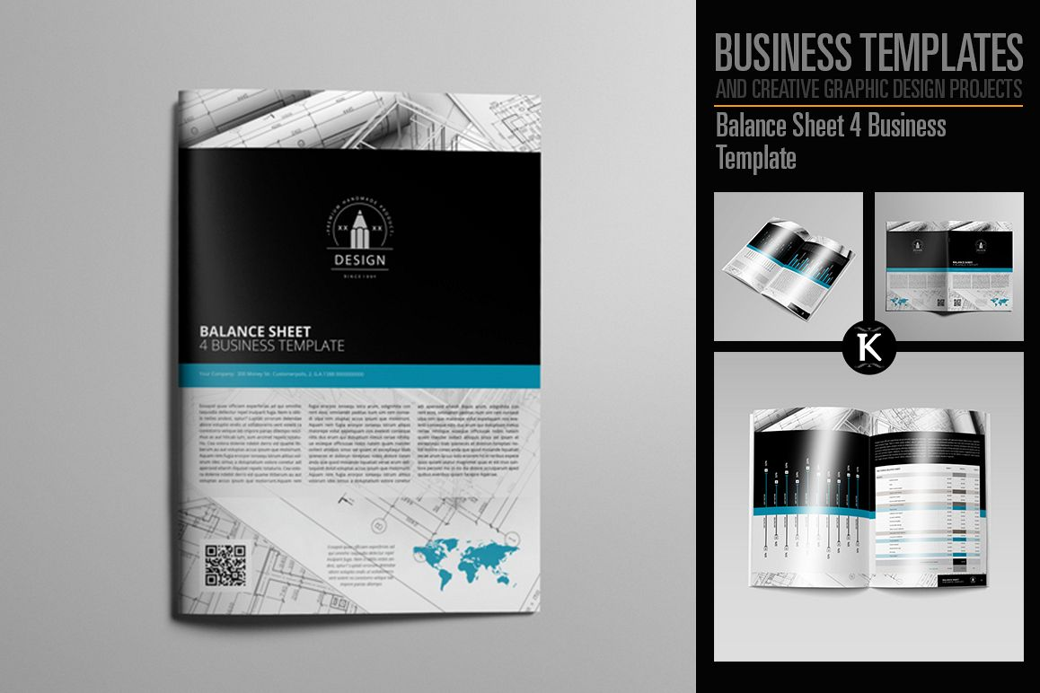 Balance Sheet 4 Business Template example image 1