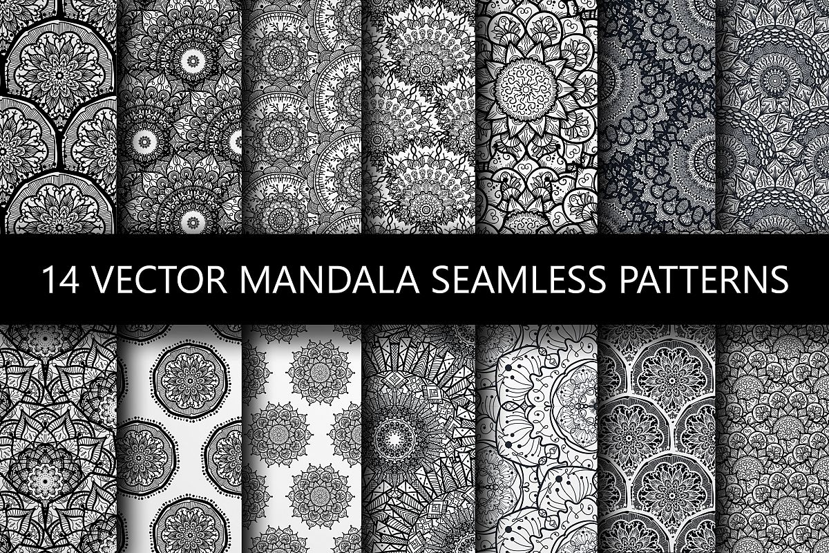 Black White Mandala Seamless Patterns example image 1