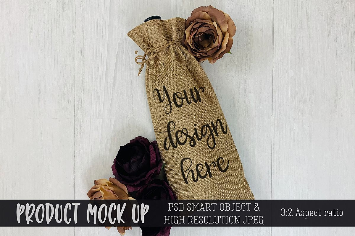 Wine Gift Bag flowers Craft mock up | PSD & JPEG example image 1