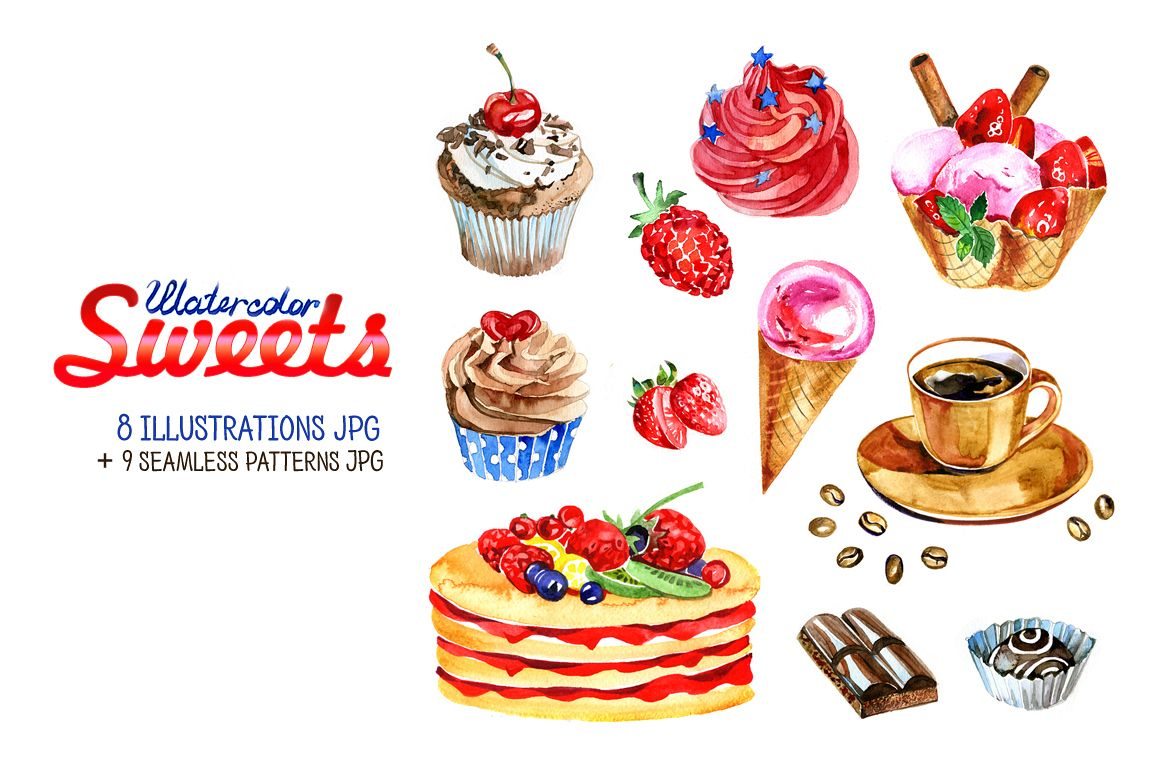 Watercolor sweets set. example image 1